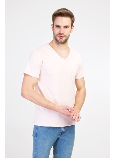 Kiğılı V Yaka Slim Fit Tişört Pembe